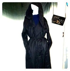 XL Organic Linen hoodie trench coat duster